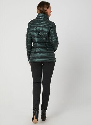 Manteau en duvet compressible , Vert, hi-res,  automne hiver 2019, manteau, matelassé, compressible, capuchon, amovible, col montant , manches longues, poches, zip, duvet, plumes, cordons