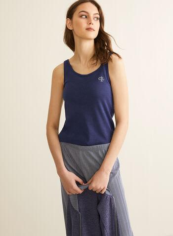 Claudel Lingerie - Three-Piece Sleepwear Set, Blue,  set, ensemble, three-piece, robe, tank top, geometric, stretchy, pull-on, zip-up, spring summer 2020