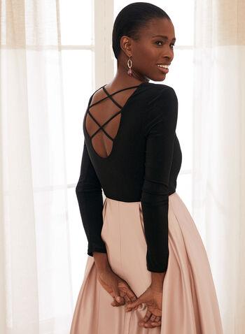 Long Sleeve Ball Gown, Black,  prom dress, ball gown, long sleeves, scoop neck, jersey, satin, crisscross, crinoline, pockets, spring summer 2021
