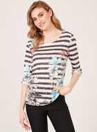 T-shirt motif fleurs et rayures à manches ¾ , Bleu, hi-res