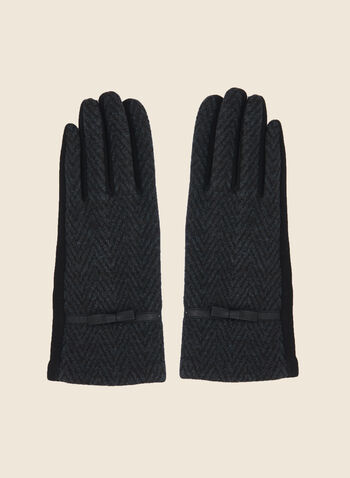 Herringbone Print Gloves, Black,  fall winter 2020, gloves, accessories, herringbone