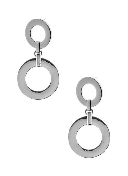Boucles d'oreilles métallisées à pendants cercle, Gris, hi-res