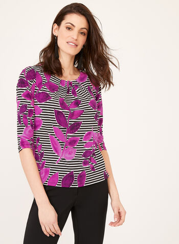 Foliage & Stripe Print Blouse , Multi, hi-res