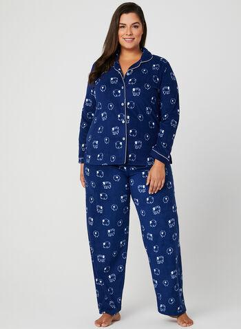 Claudel Lingerie - Pyjama en polaire et motif moutons, Bleu, hi-res