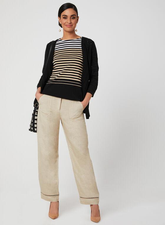 Stripe Print Elbow Sleeve Top, Black, hi-res