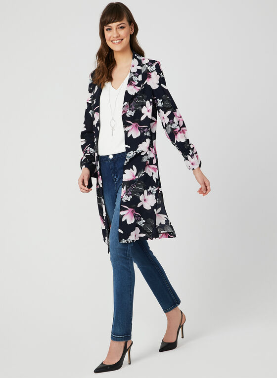 Floral Print Duster Jacket, Blue, hi-res