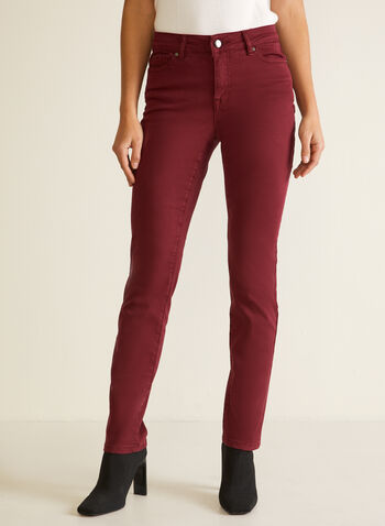 Straight Leg Jeans, Red,  fall winter 2020, jeans, denim, pants, straight leg, basics, stretch, cotton blend