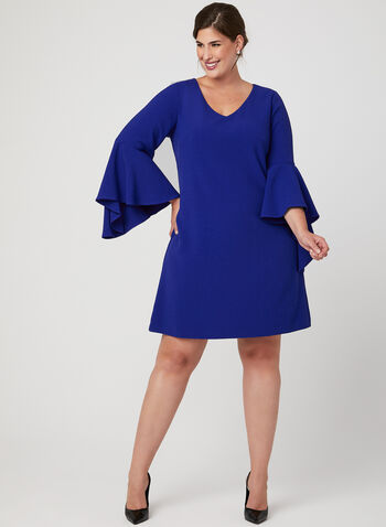 Angel Sleeve Shift Dress, Blue, hi-res