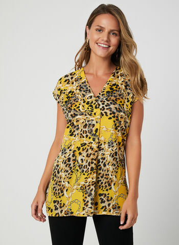 Mixed Print Blouse, Yellow, hi-res,  short sleeves, chain print, leopard print, animal print, v-neck, fall 2019, winter 2019