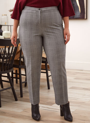 Pantalon coupe signature à carreaux, Noir,  automne hiver 2020, pantalon, jambe droite, carreaux, motif, carreauté, pinces