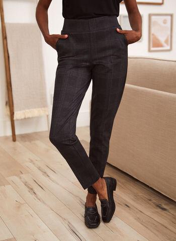 Pantalon motif carreaux à enfiler, Gris,  pantalon, bas, à enfiler, pull-on, carreaux, motif, imprimé, coupe étroite, poches, bengaline, automne 2021