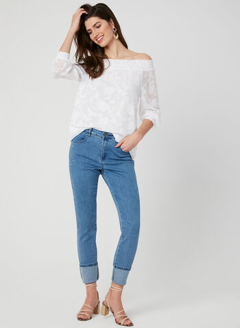 Off-the-Shoulder Blouse, White, hi-res