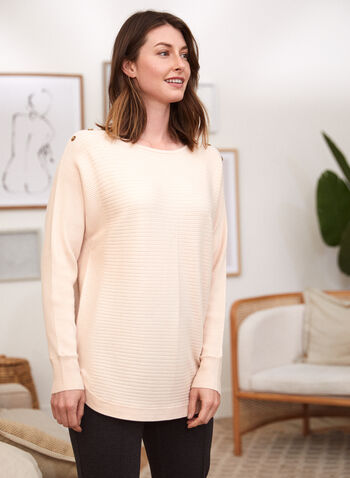 Button Detail Sweater, White,  fall winter 2021, knitwear, rib, buttoned, tunic, long sleeves, scoop neck, round neck,
