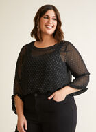Ruffle Detail Embellished Blouse, Black