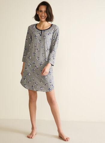 Floral Print Nightshirt, Grey,  fall winter 2020, nightshirt, contrast , pyjama