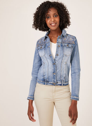 Ness – Crystal Detail Embroidered Jean Jacket, Blue, hi-res