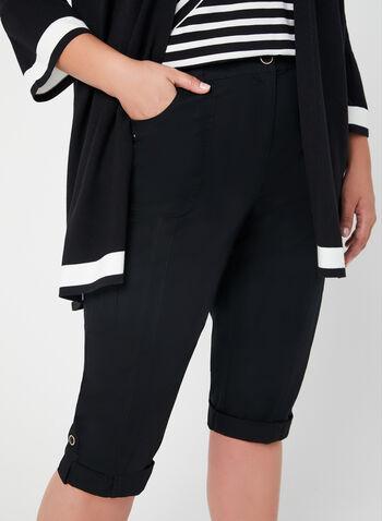 Capri cargo coupe moderne, Noir, hi-res,  capri, cargo, moderne, lacets, jambe droite, poches, coton, printemps 2019