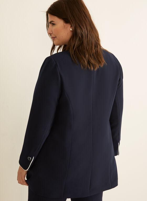 Veste ouverte à détails contrastants, Bleu