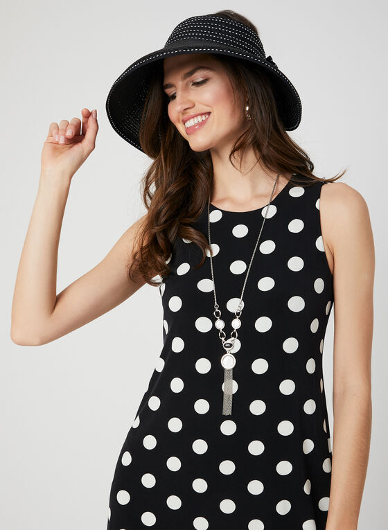 Polka Dot Print Sleeveless Dress, Black