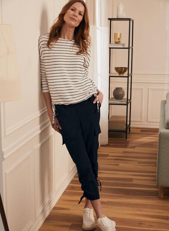 ¾ Sleeve Stripe Print T-Shirt, White