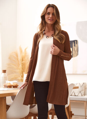 Open Front Knit Cover Up, Brown,  fall winter 2021, made in Canada, open front, open cardigan, cardigan, cover up, knit, rib knit, long sleeve, button detail, light cardigan