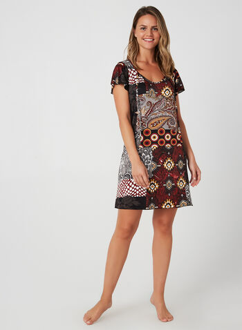 Patchwork Print Nightgown, Red, hi-res,  fall winter 2019, short sleeves