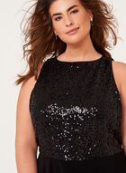 Sequin Embellished Crepe Dress, Black, hi-res