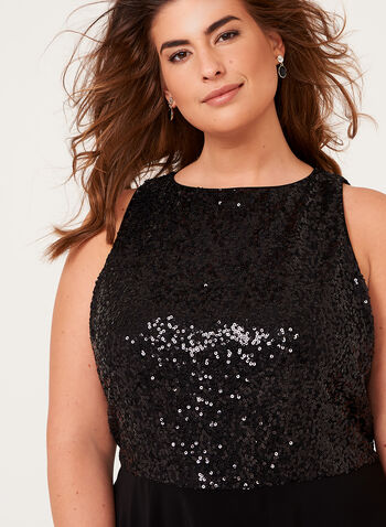 Sequin Embellished Crepe Dress, , hi-res