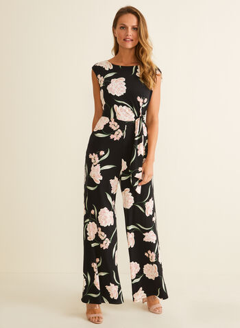 Floral Print Wide Leg Jumpsuit, Black,  jumpsuit, floral, side tie, sleeveless, wide leg, pockets, jersey, spring summer 2020