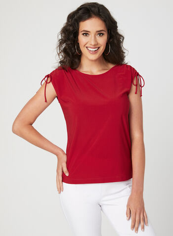Drop Shoulder Jersey Top, Red, hi-res
