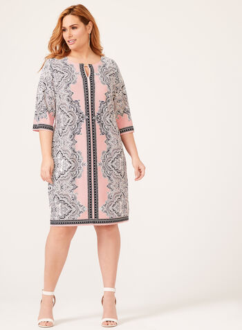 Paisley Print Jersey Dress, Pink, hi-res