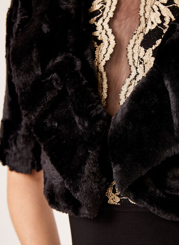 Crushed Faux Fur Bolero , Black, hi-res