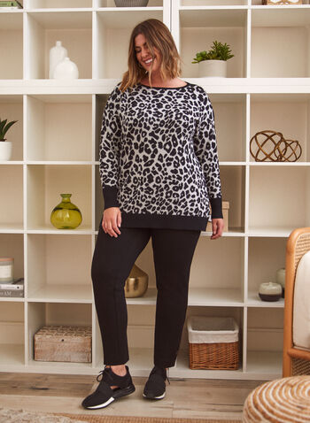 Pull à motif léopard, Gris,  haut, pull, chandail, encolure bateau, manches longues, contrastes, motif léopard, animal, automne hiver 2021, longueur tunique