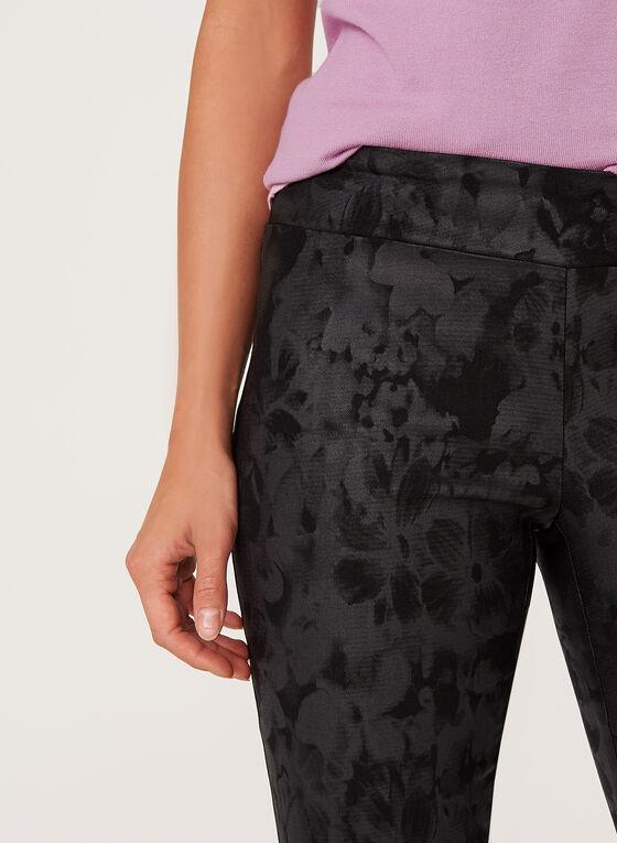 Pantalon pull-on jambe étroite à fleurs en point de Rome, Noir, hi-res