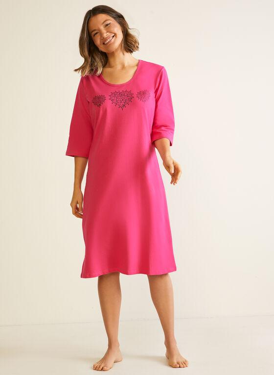 Triple Heart Nightgown, Pink