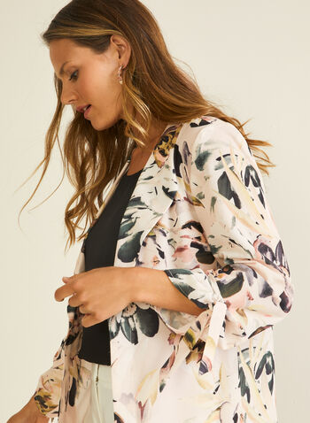 Floral Print Open Front Jacket, Purple,  jacket, open front, 3/4 sleeves, knot, floral, crepe, spring summer 2020