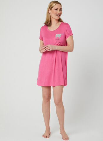 Pillow Talk - Cat Appliqué Nightgown, Pink, hi-res