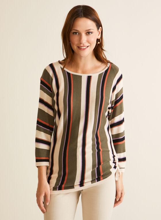 Stripe Print Tie Detail Sweater, Brown