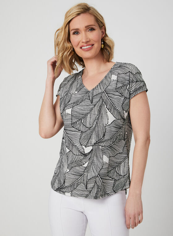 Textured Leaf Print Top, White
