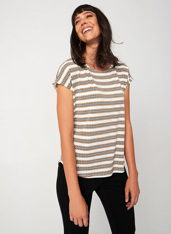 Short Sleeve Chain Print Top, White,  canada, short sleeves, drop shoulder, scoop neck, chain print, houndstooth, stripe print, viscose, fall 2019, winter 2019