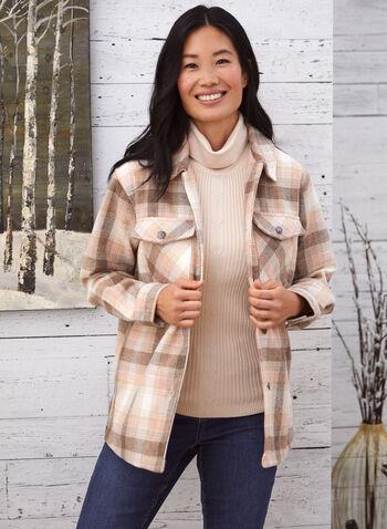 Plaid Button Down Shirt, White,  fall 2021, shirt, top, blouse, plaid, long sleeve, button down, button front