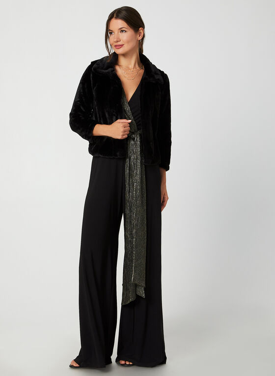 Nina Leonard - Faux Fur Bolero, Black