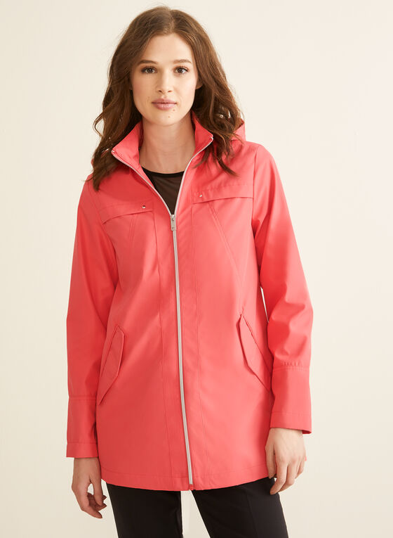 Novelti - Hooded A-Line Coat, Orange