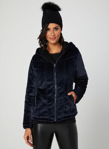Weatherproof - Hooded Faux Fur Coat, Blue, hi-res