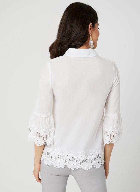 Embroidered Cotton Button Down, White