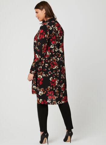 Floral Print Lapel Collar Tunic, Black, hi-res
