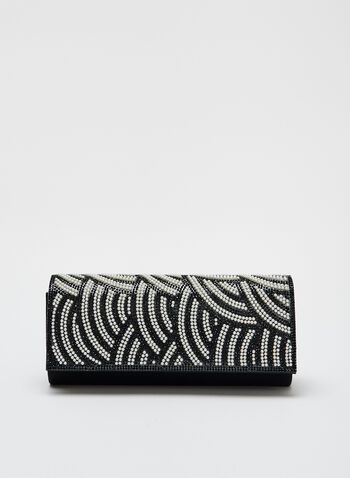Pearl Detail Evening Clutch, Black, hi-res