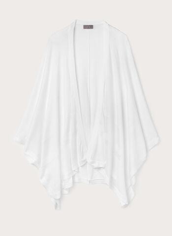 Poncho style pashmina à bandes contrastantes, Blanc cassé, hi-res