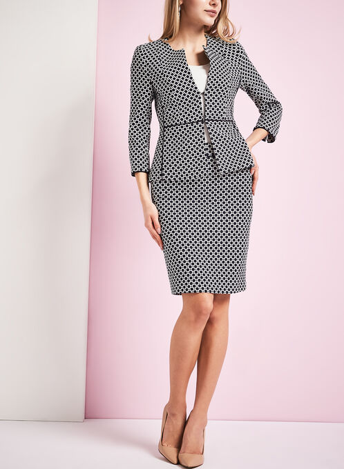 Contrast Trim Dot Print Jacket, Blue, hi-res