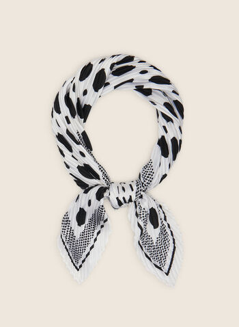 Polka Dot Pleated Lightweight Scarf, White,  scarf, square, pleated, lightweight, polka dot, border, spring summer 2020